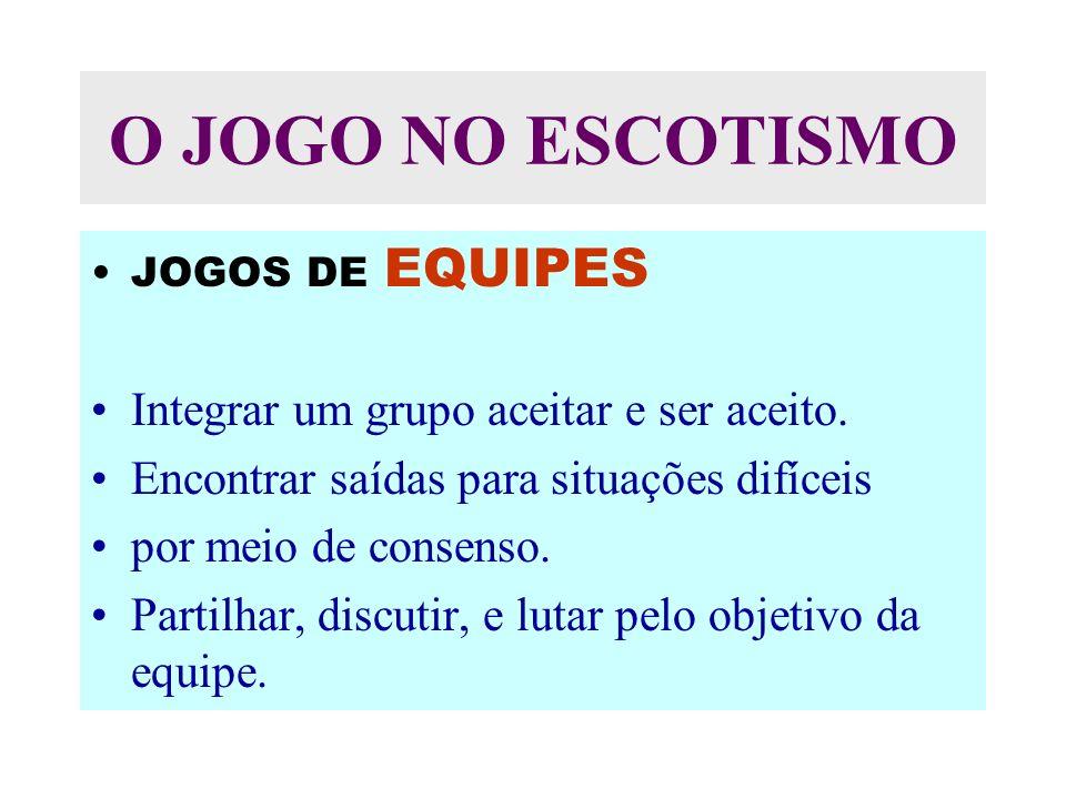 O JOGO NO ESCOTISMO Integrar um grupo aceitar e ser aceito.