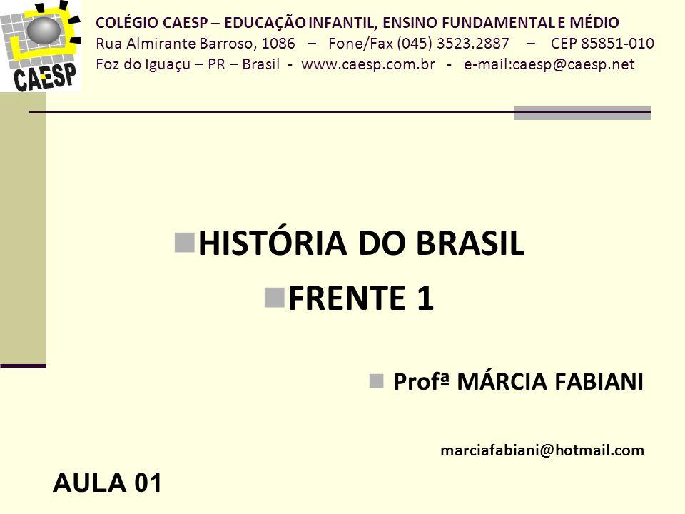 HISTÓRIA DO BRASIL FRENTE 1 Profª MÁRCIA FABIANI AULA 01
