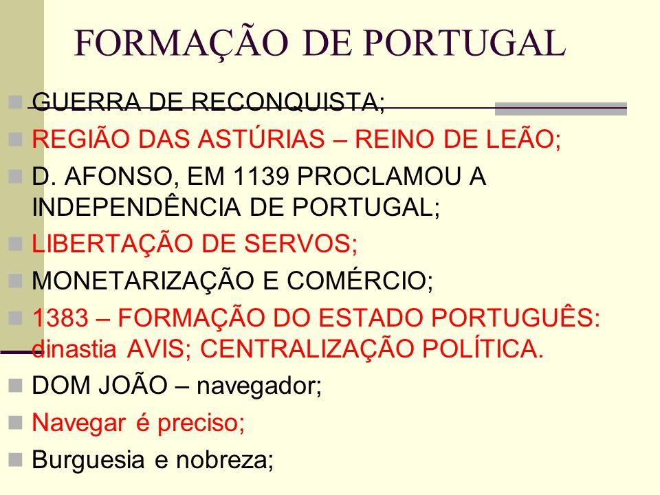 FORMAÇÃO DE PORTUGAL GUERRA DE RECONQUISTA;