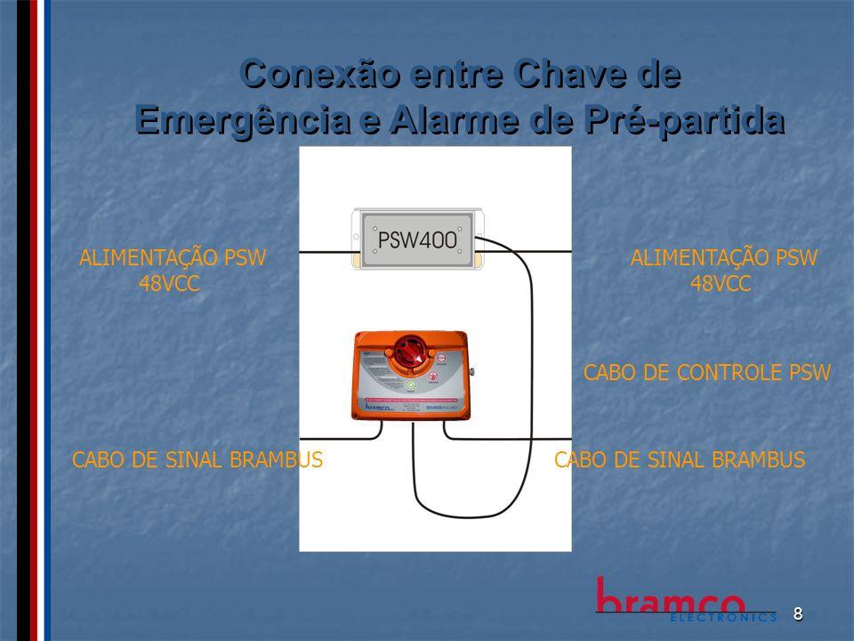 Conexão entre Chave de Emergência e Alarme de Pré-partida