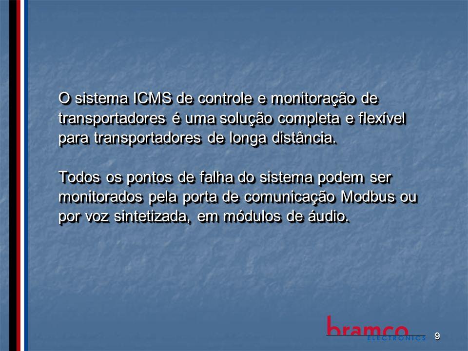 O sistema ICMS de controle e monitoração de transportadores é uma solução completa e flexível para transportadores de longa distância.