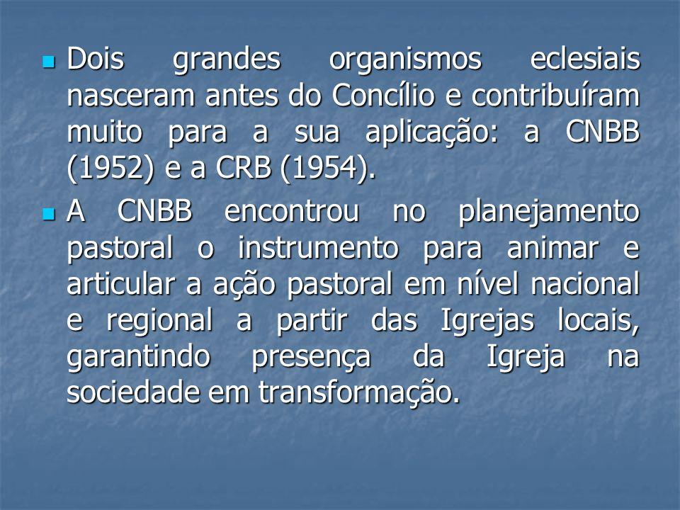 Dois grandes organismos eclesiais nasceram antes do Concílio e contribuíram muito para a sua aplicação: a CNBB (1952) e a CRB (1954).