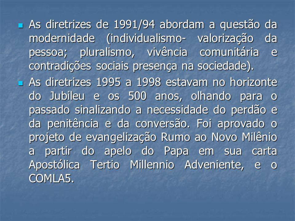 As diretrizes de 1991/94 abordam a questão da modernidade (individualismo- valorização da pessoa; pluralismo, vivência comunitária e contradições sociais presença na sociedade).