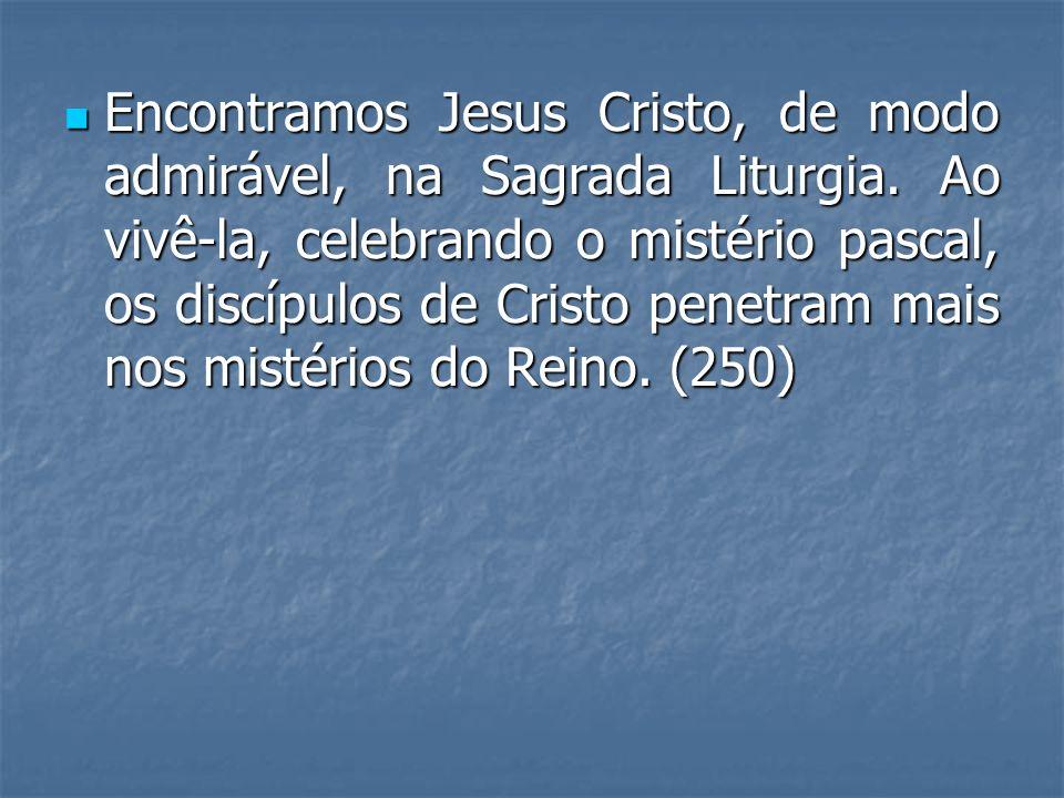 Encontramos Jesus Cristo, de modo admirável, na Sagrada Liturgia