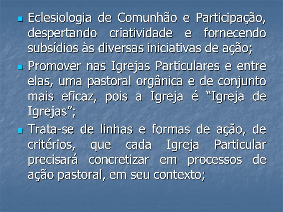 Eclesiologia de Comunhão e Participação, despertando criatividade e fornecendo subsídios às diversas iniciativas de ação;