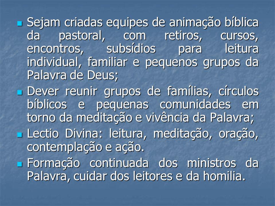 Sejam criadas equipes de animação bíblica da pastoral, com retiros, cursos, encontros, subsídios para leitura individual, familiar e pequenos grupos da Palavra de Deus;