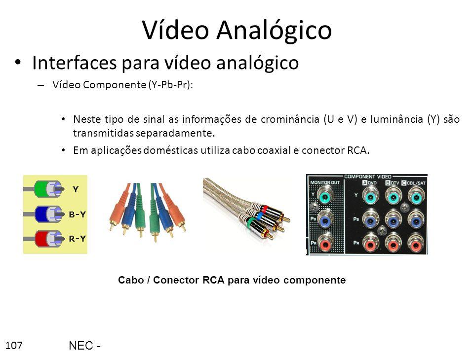 Cabo / Conector RCA para vídeo componente