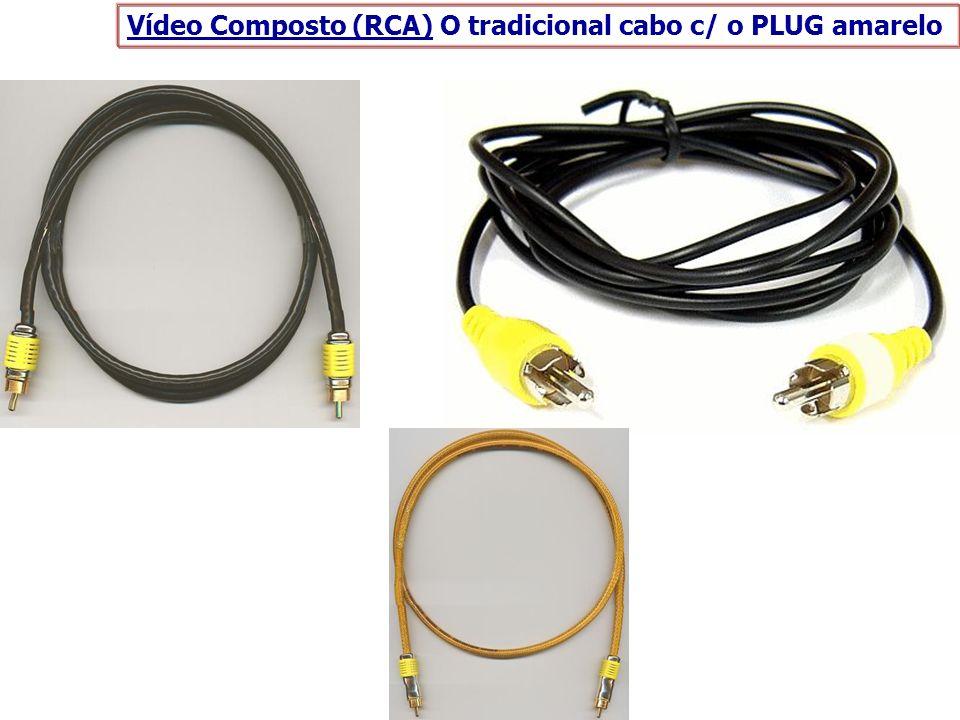 Vídeo Composto (RCA) O tradicional cabo c/ o PLUG amarelo