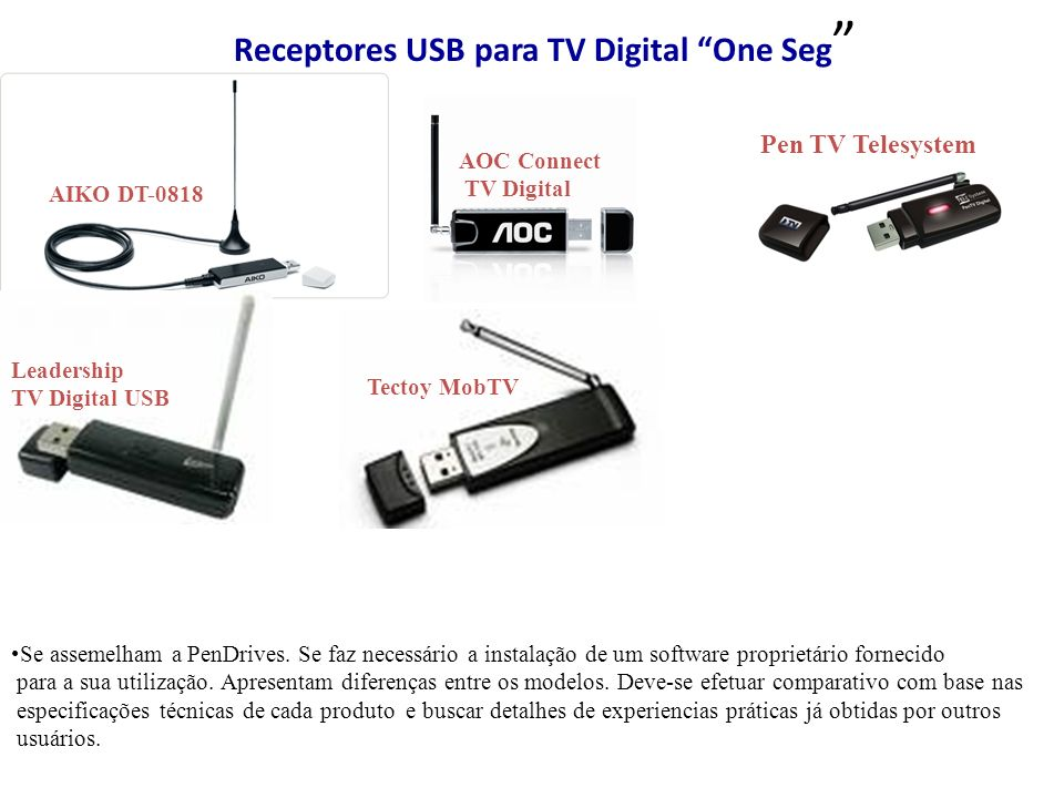 Receptores USB para TV Digital One Seg