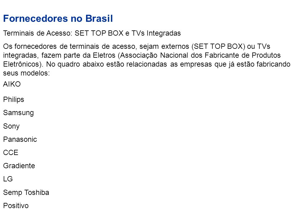 Fornecedores no Brasil