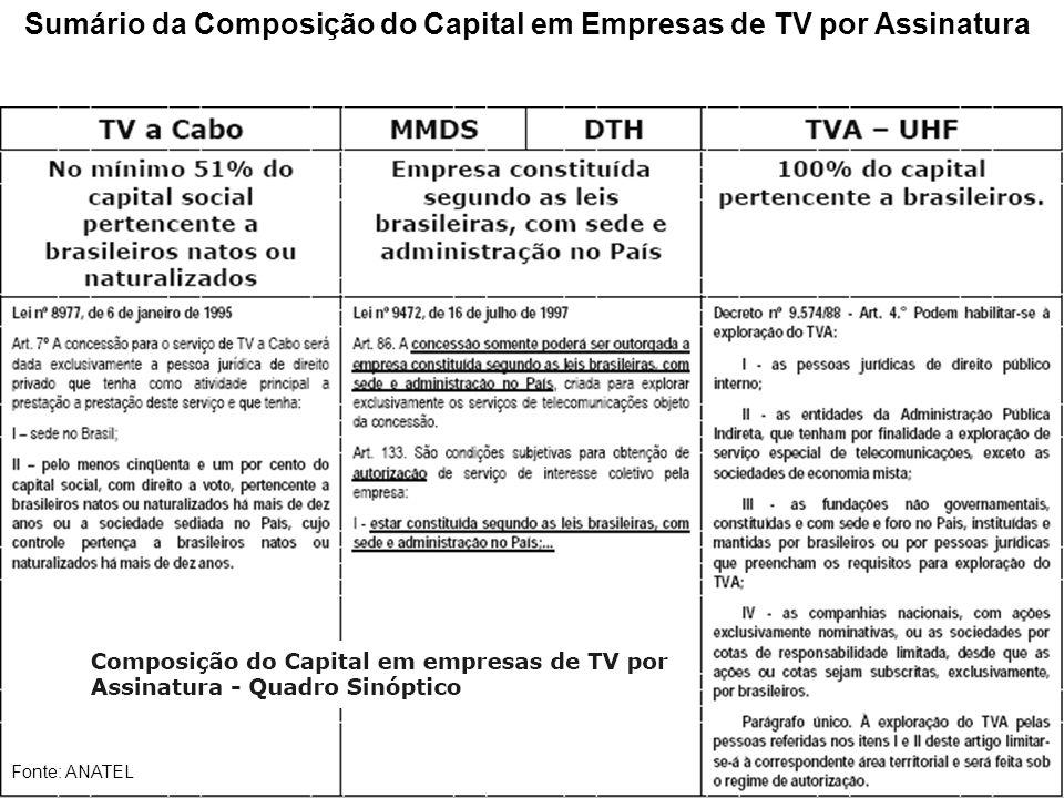 Sumário da Composição do Capital em Empresas de TV por Assinatura