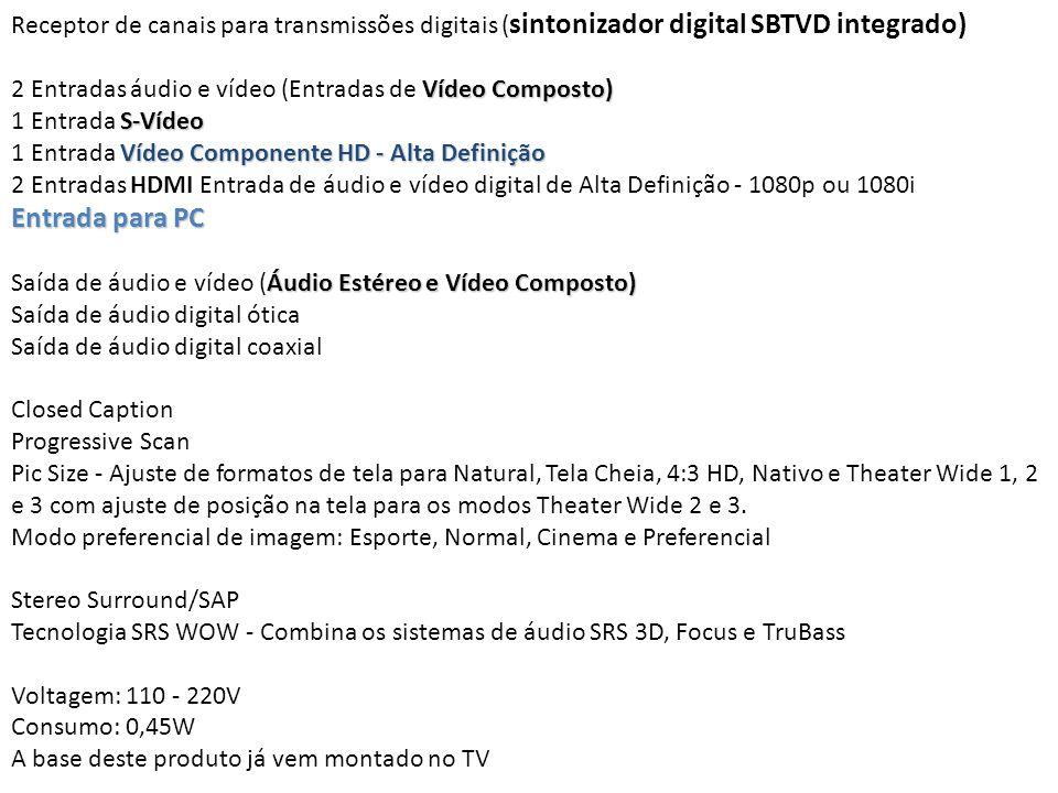 Receptor de canais para transmissões digitais (sintonizador digital SBTVD integrado)