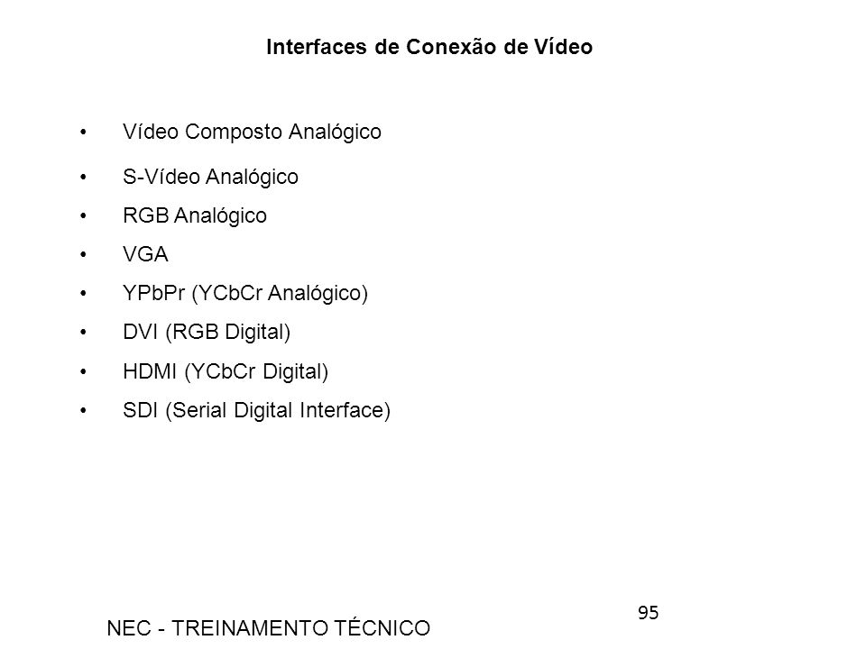 Interfaces de Conexão de Vídeo