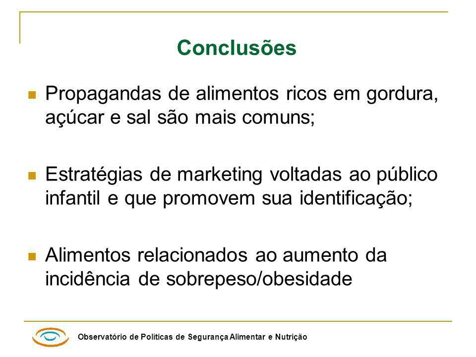 Conclusões Propagandas de alimentos ricos em gordura, açúcar e sal são mais comuns;