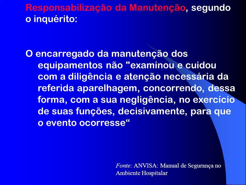 Responsabilização da Manutenção, segundo o inquérito: