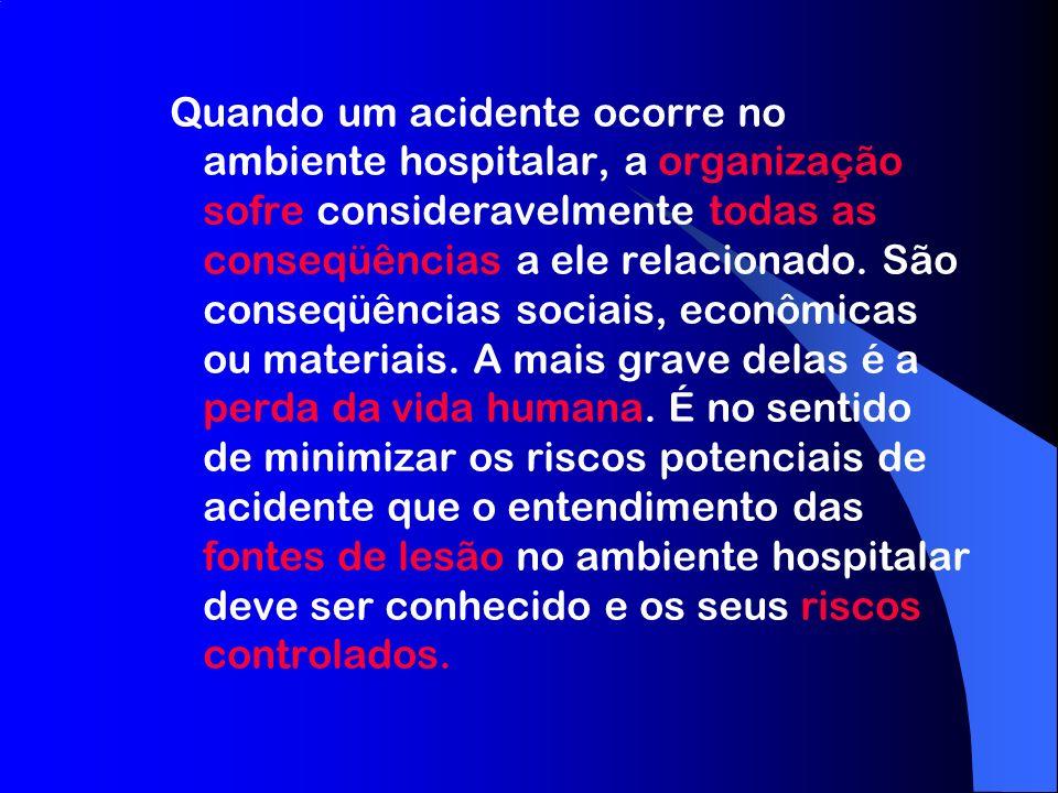 Quando um acidente ocorre no ambiente hospitalar, a organização sofre consideravelmente todas as conseqüências a ele relacionado.