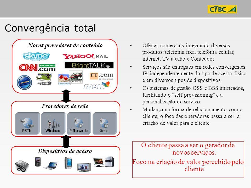 Convergência total O cliente passa a ser o gerador de novos serviços.