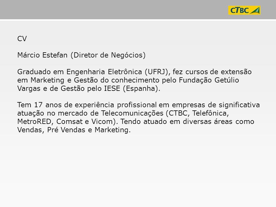 CV Márcio Estefan (Diretor de Negócios)