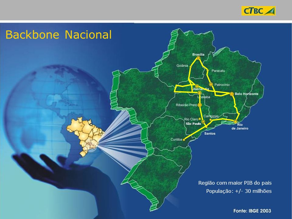 Backbone Nacional Região com maior PIB do país