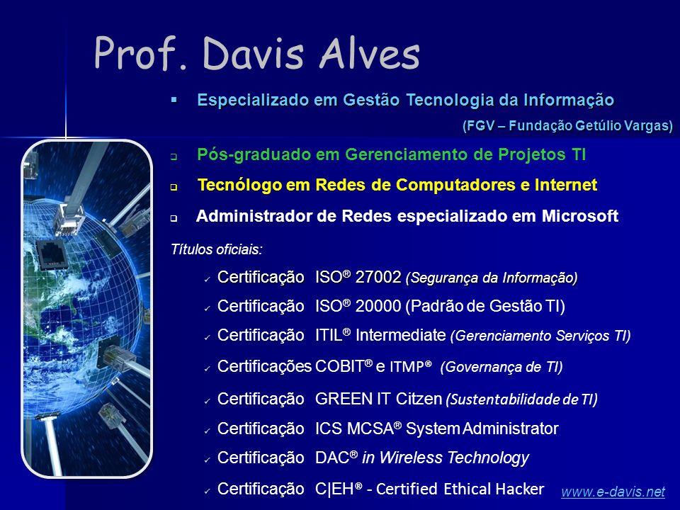 Prof. Davis Alves Especializado em Gestão Tecnologia da Informação
