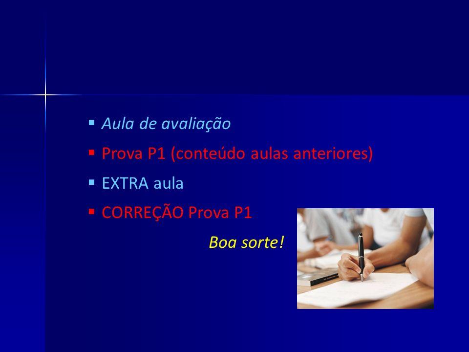 Prova P1 (conteúdo aulas anteriores) EXTRA aula CORREÇÃO Prova P1
