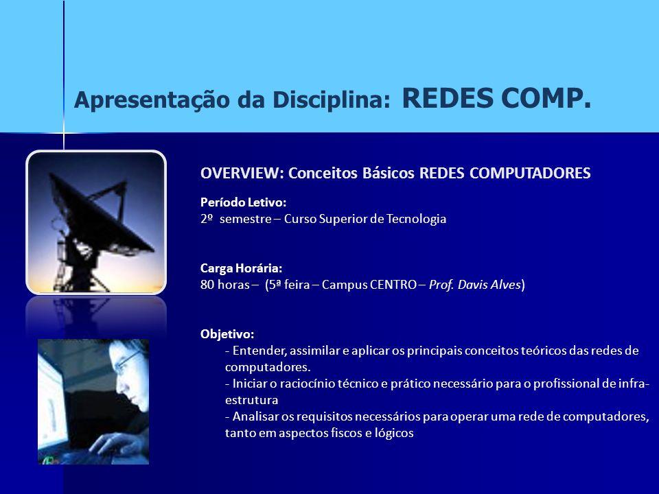 Apresentação da Disciplina: REDES COMP.