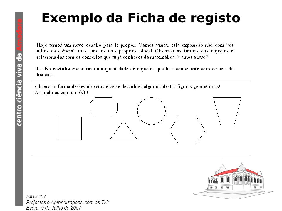 Exemplo da Ficha de registo