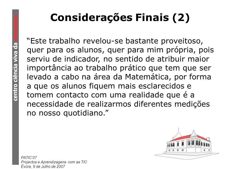 Considerações Finais (2)