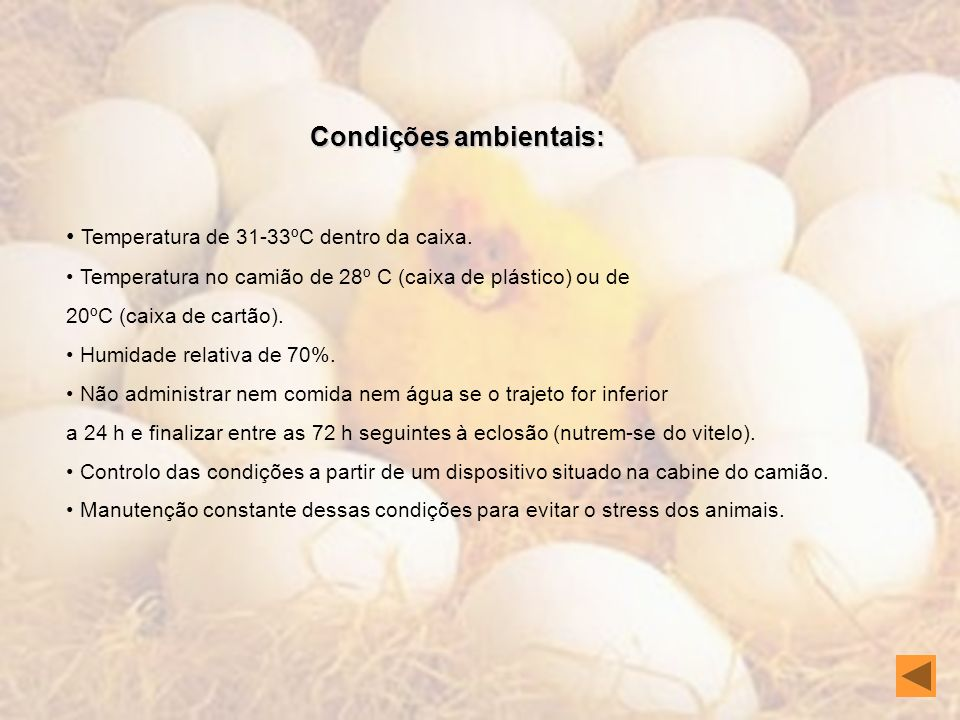Condições ambientais: