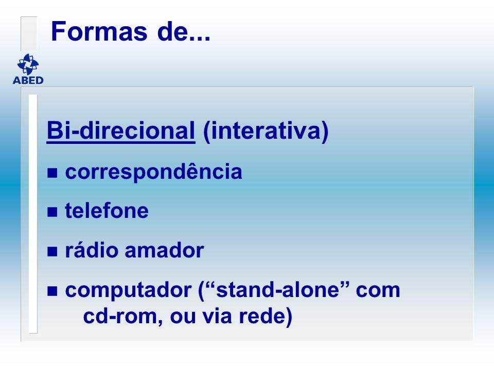 Formas de... Bi-direcional (interativa) correspondência telefone
