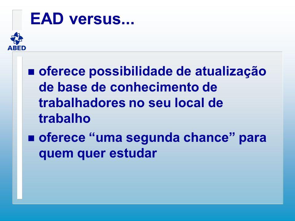 EAD versus... oferece possibilidade de atualização de base de conhecimento de trabalhadores no seu local de trabalho.