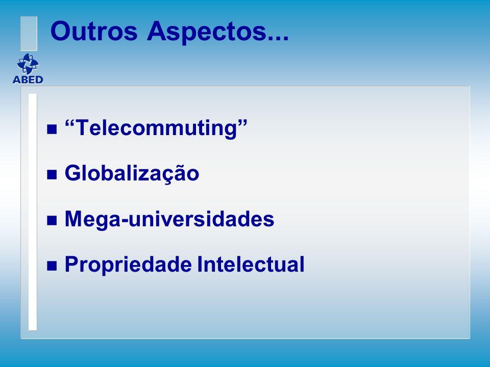 Outros Aspectos... Telecommuting Globalização Mega-universidades