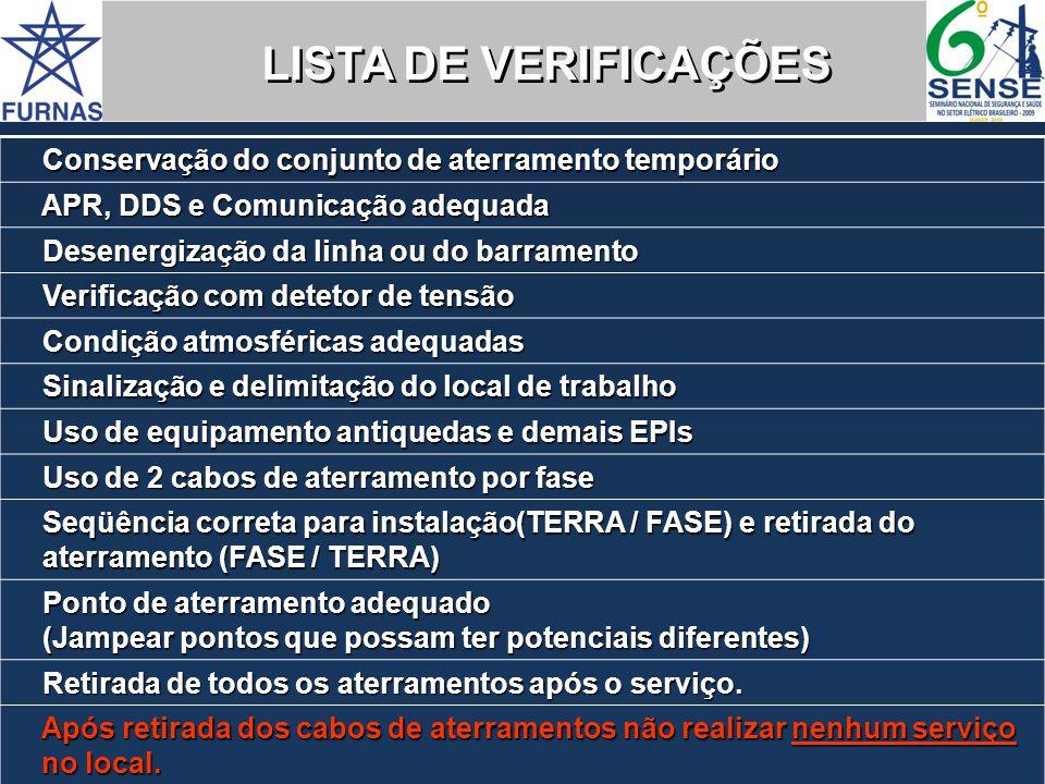 LISTA DE VERIFICAÇÕES Conservação do conjunto de aterramento temporário. APR, DDS e Comunicação adequada.