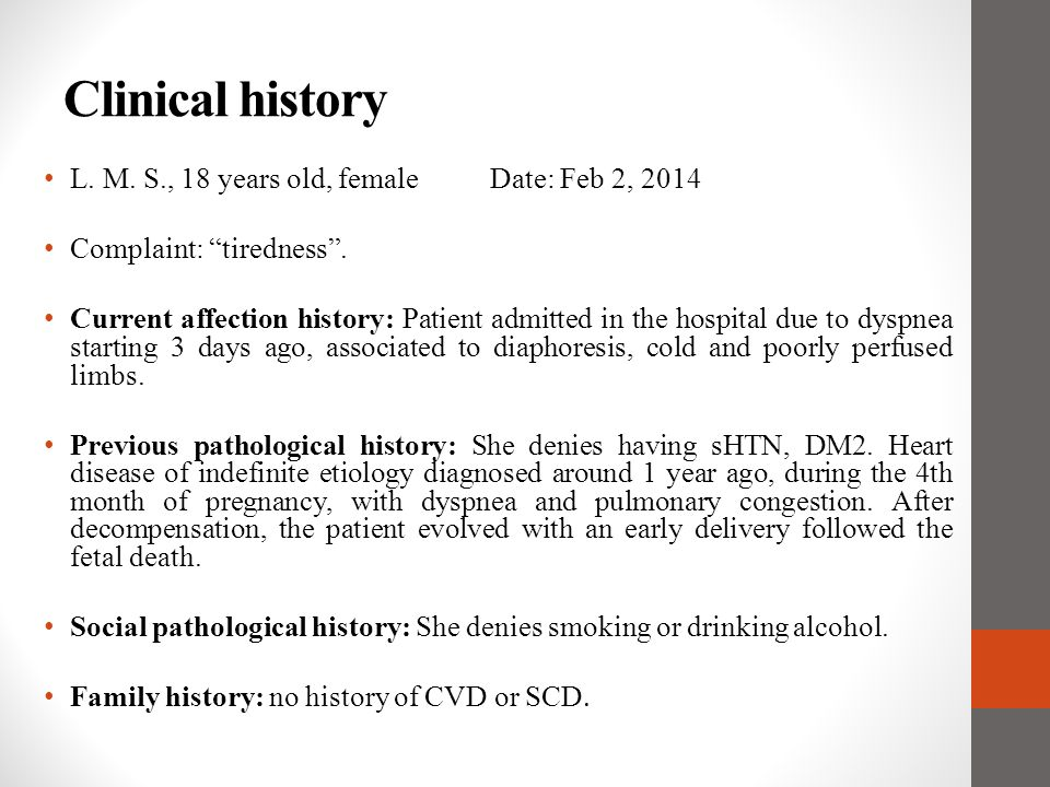 Clinical history L. M. S., 18 years old, female Date: Feb 2, 2014