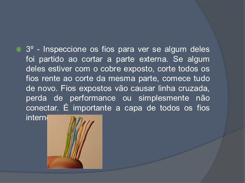 3º - Inspeccione os fios para ver se algum deles foi partido ao cortar a parte externa.