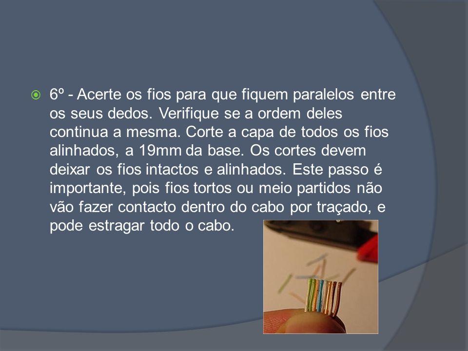 6º - Acerte os fios para que fiquem paralelos entre os seus dedos