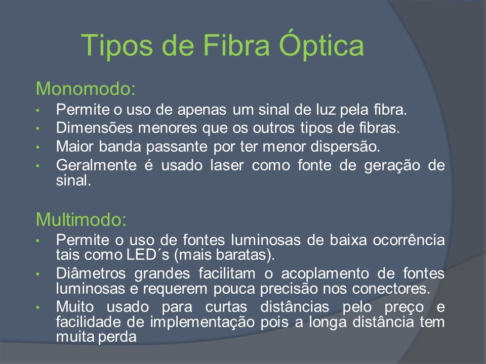 Tipos de Fibra Óptica Monomodo: Multimodo: