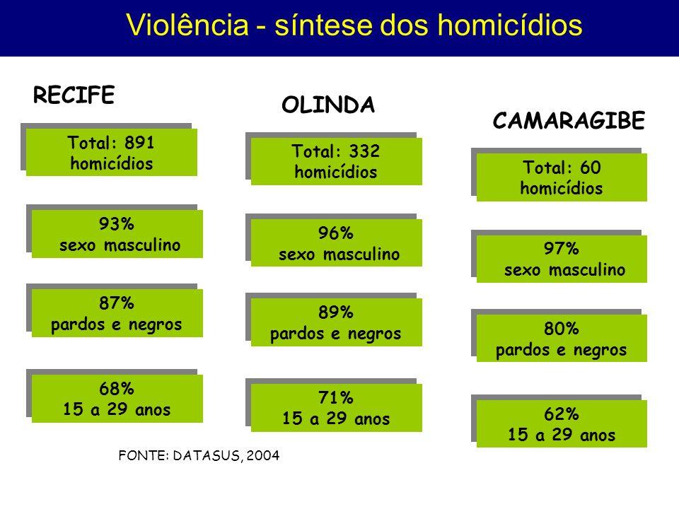 Violência - síntese dos homicídios