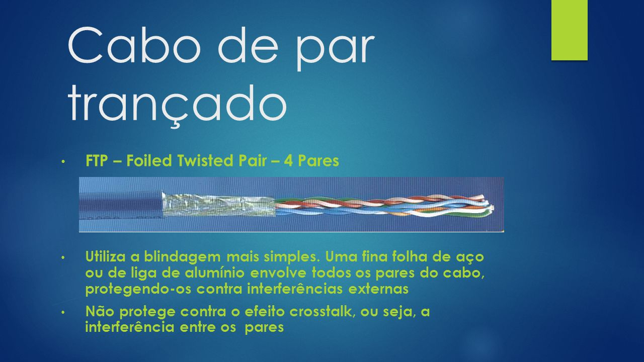 Cabo de par trançado FTP – Foiled Twisted Pair – 4 Pares