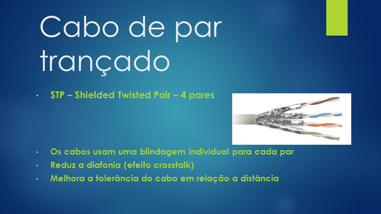 Cabo de par trançado STP – Shielded Twisted Pair – 4 pares