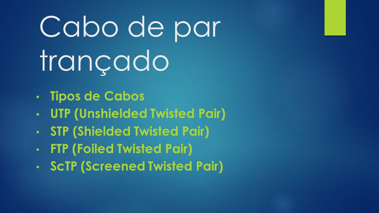 Cabo de par trançado Tipos de Cabos UTP (Unshielded Twisted Pair)