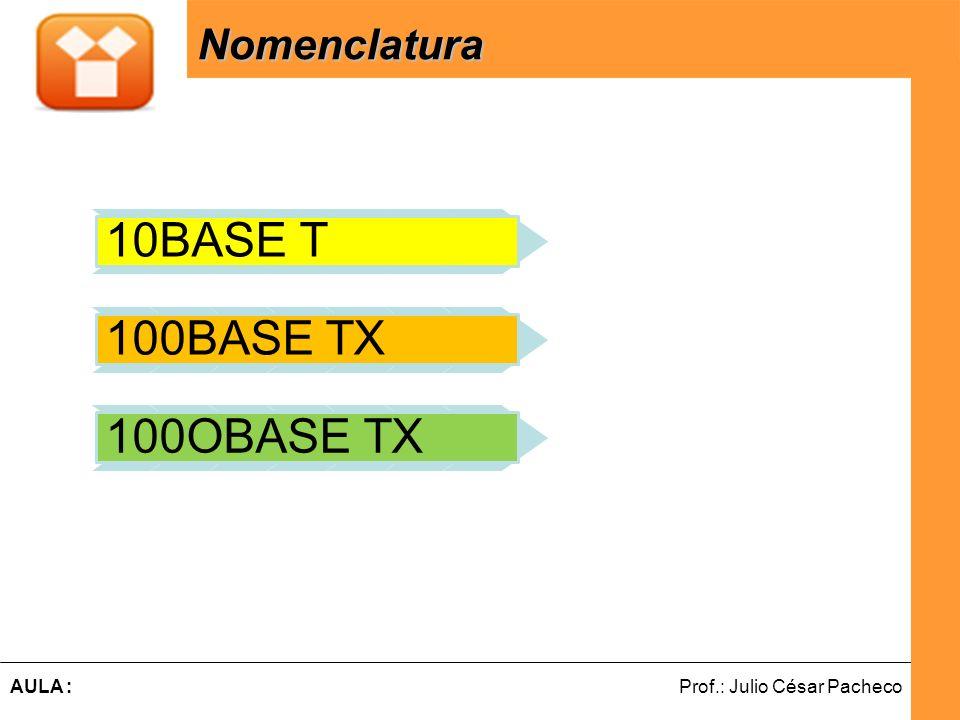 10BASE T 100BASE TX 100OBASE TX Nomenclatura 10, 100 e 1000