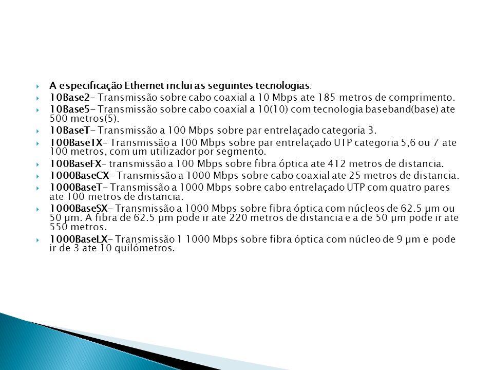 A especificação Ethernet inclui as seguintes tecnologias: