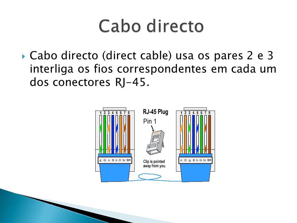 Cabo directo Cabo directo (direct cable) usa os pares 2 e 3 interliga os fios correspondentes em cada um dos conectores RJ-45.