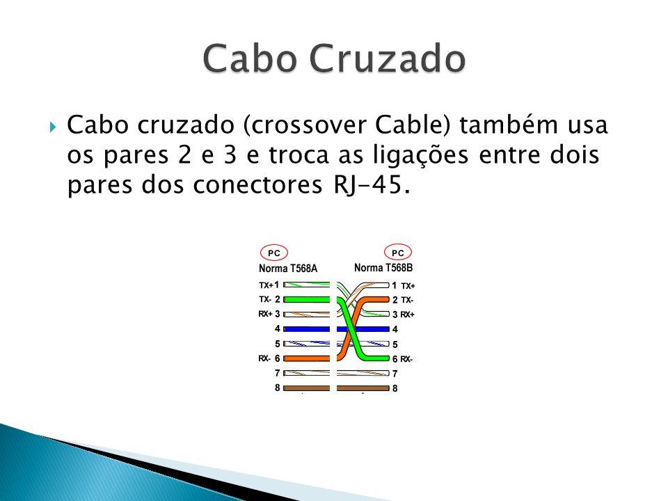 Cabo Cruzado Cabo cruzado (crossover Cable) também usa os pares 2 e 3 e troca as ligações entre dois pares dos conectores RJ-45.