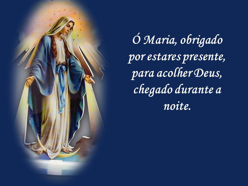 Ó Maria, obrigado por estares presente, para acolher Deus, chegado durante a noite.