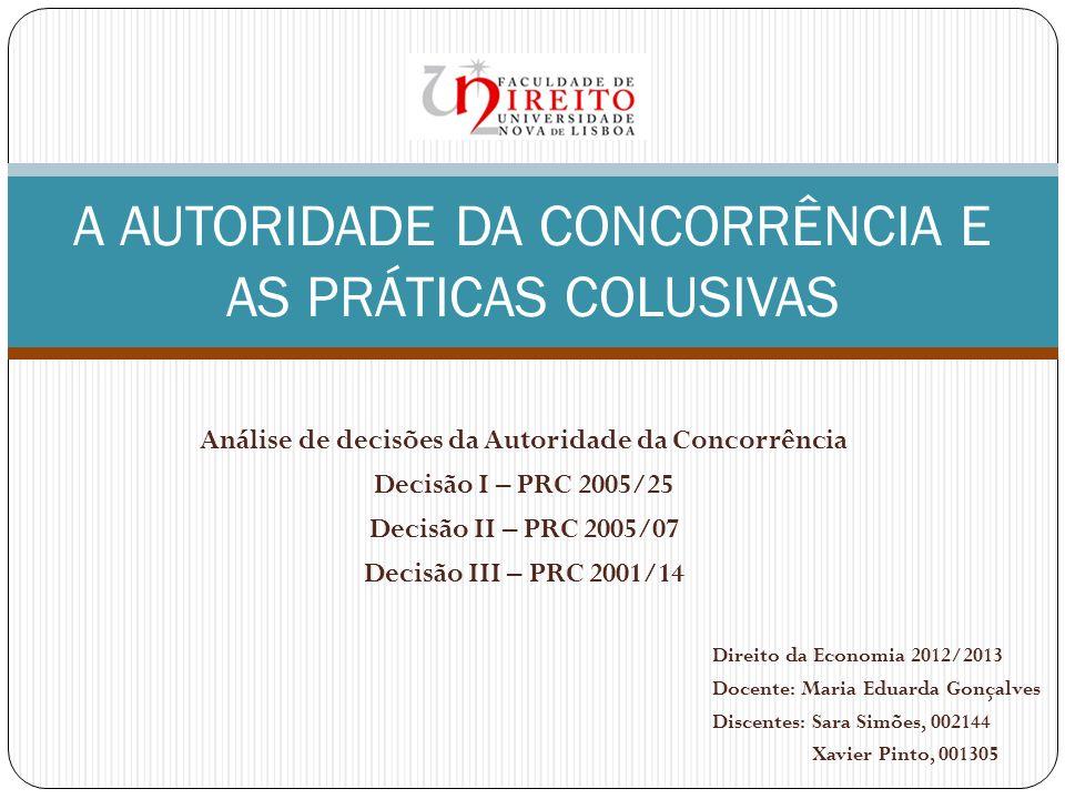 A AUTORIDADE DA CONCORRÊNCIA E AS PRÁTICAS COLUSIVAS