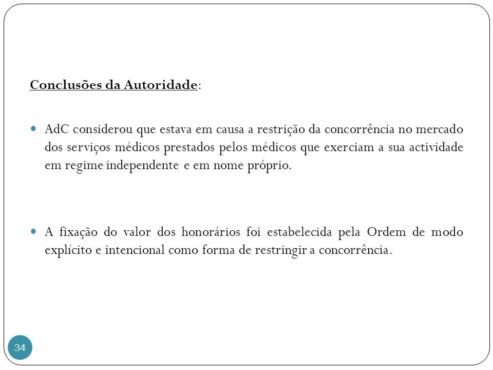 Conclusões da Autoridade:
