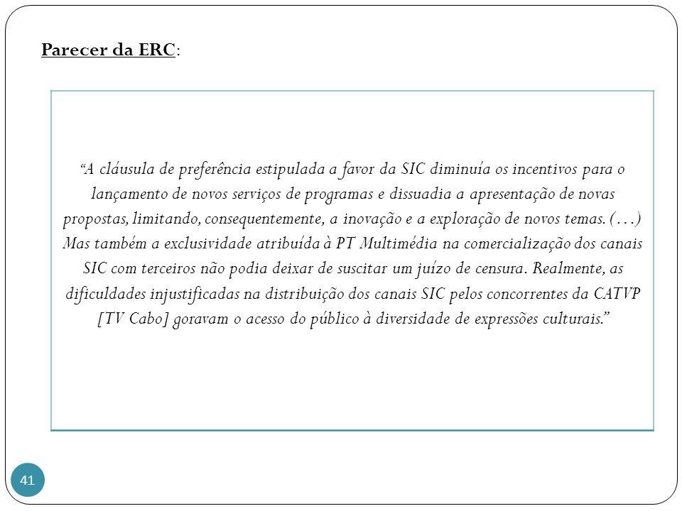 Parecer da ERC: