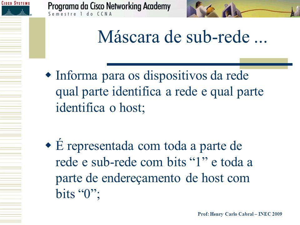 Máscara de sub-rede ... Informa para os dispositivos da rede qual parte identifica a rede e qual parte identifica o host;